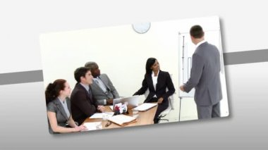 Montage presenting multi-ethnic business team at work — Stock Video #15415433
