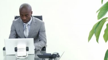 Panorama of businessman talking to a colleague who is using a laptop in office. Footage in high definition