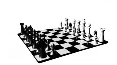 Animation of a chess set turning. Concept of rivalry and competition in business — Stock Video