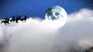 Santa Claus Flying though the sky — Stock Video