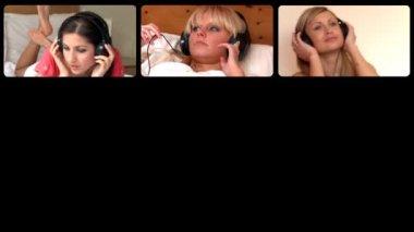 3d-animering av glada kvinnor lyssnar musik — Stockvideo