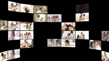 Montage of cheerful families at home