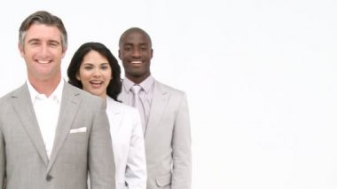 Multi-ethnic business team standing — Stock Video
