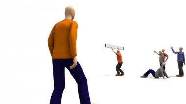 3D men presenting dancing concept — Stock Video