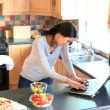 Overwhelmed woman working and cooking in the kitchen — Vidéo