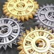 Cogs and gears of different currencies in motion — Stock Video