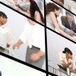 Montage of an office dominated by men - Stock Photo