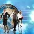 Animation of business posing in front of the Planet — Stock Video