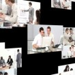 Royalty-Free Stock Vector Image: Multiple hd shots of an office environment with men workign together
