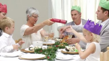 Joyous Christmas family occasion — Stockvideo