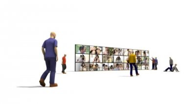 3D characters looking families through a big screen — Stock Video