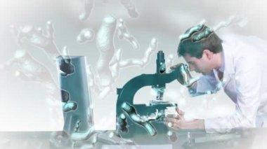 исследователь, глядя в микроскоп — Стоковое видео