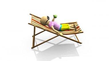 3D man relaxing on a reclining chair — Stock Video