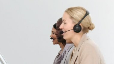Business team working in a call centre — Stock Video