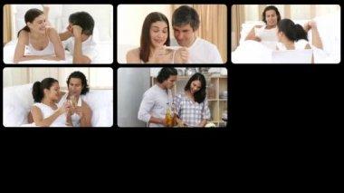 Animation of adorable couples having fun — Stock Video