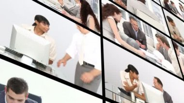 Montage of an office dominated by men in High definition video format