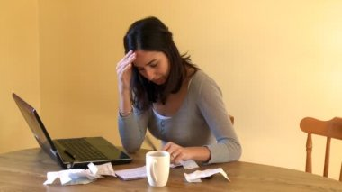 Weary woman doing her accounts — Vídeo de Stock