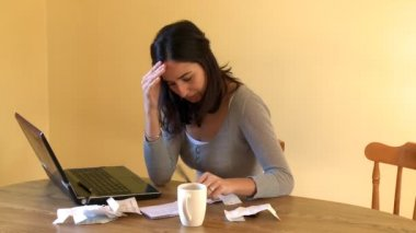Weary woman doing her accounts — Vídeo Stock
