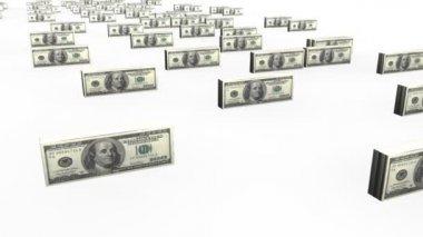 Animacja dolarów banknotów na scenie — Wideo stockowe