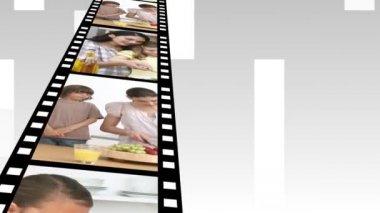 Video panels of family having fun — Stock Video