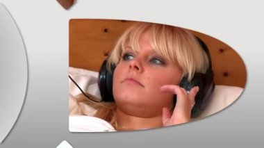 Montagem de mulheres relaxadas ouvindo música em casa — Vídeo Stock