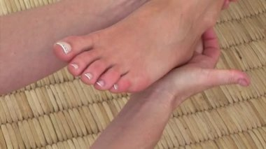 Close-up of a special foot massage — Stock Video