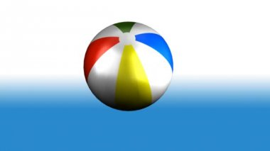 Colorful 3d animated beach Ball Spinning