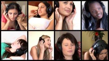 Stock animation of diverse women listening music — Stock Video
