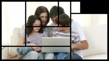 Stock animation of families relaxing at home — Stock Video