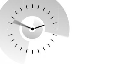 Animation in black and white of a clock moving the hands very fast. Passing time concept