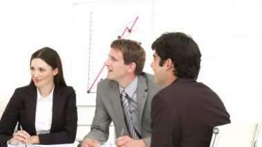 Business associates talking in a meeting — Stock Video