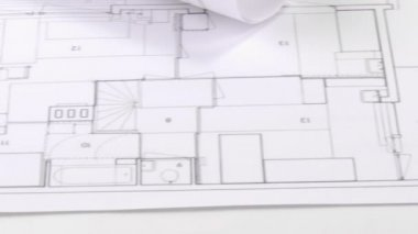 Panorama of blueprints and architecture objects — Stock Video