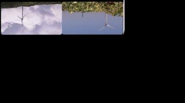 Montage footage presenting wind turbines — Stock Video