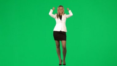 Happy businesswoman celebrating a success footage — Stock Video