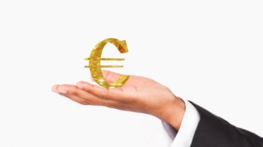 Human hand holding a Euro symbol. Concept of good economy — Stock Video
