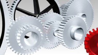 Interlocking gears in motion — Video Stock