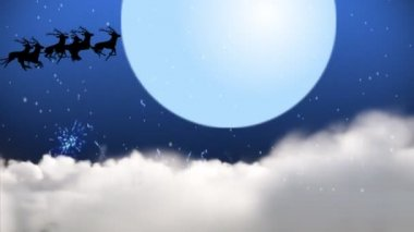 Animation of Santa Claus and reindeer flying over the moon — Stock Video