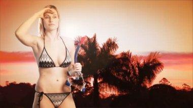 Bikini beauty on a beach — Stock Video