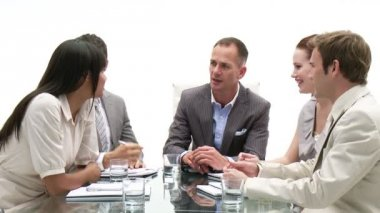 Multi-ethnic business in a meeting — Stock Video