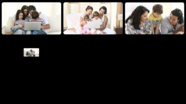 Montage of loving families having fun — Stock Video