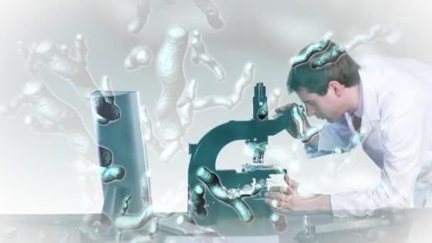 Chercheur à la recherche dans un microscope — Vidéo