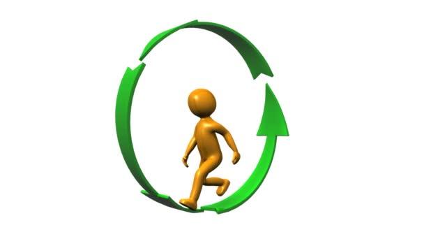 Icono humano de caminar en un círculo formado por flechas — Vídeo de stock