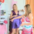 Young pretty women are doing shopping — Stok video