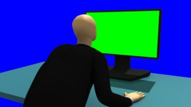 Animation showing a 3d-man sitting in front of a green screen — Stock Video