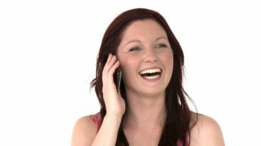 Mulher sorridente chamando — Vídeo stock