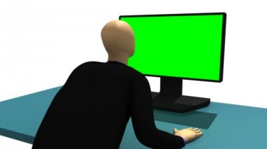 Computer animation representing a 3d-man sitting in front of a green desktop — Stock Video