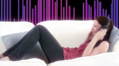 Happy woman listening music with special background — Stock Video