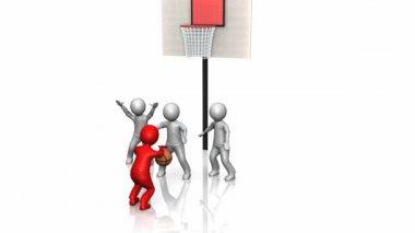 3d lidé hrát basketbal — Stock video