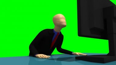 Animation representing a despaired 3d-man in front of a desktop — Stock Video