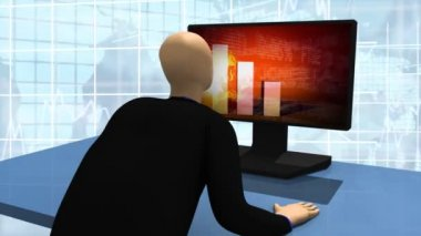 Animated graphics presenting 3d man looking at declined share market — Stock Video
